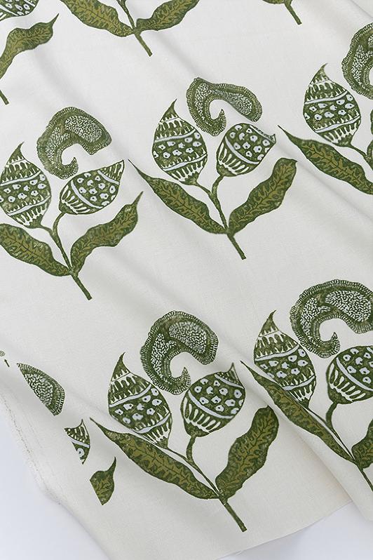 paisley sprigs/1063-04/olive porcelain